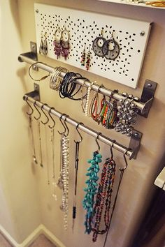 DIY Jewelry Storage: The IKEA Home Tour Squad used the VARIERA shelf insert without the legs and mounted it to the wall inside the closet to organize earrings! Jewellery Storage, Jewellery Display, Closet Organization, Jewelry Organization, Diy Storage, Storage Spaces, Ikea Home Tour, Summer Crafts For Kids, Jewelry Holder