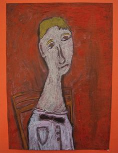 Modigliani Inspired Self Portraits- They were drawn with white chalk onto black paper, coloured with oil pastels and then painted with a wash of black dye, which turns all the chalk lines black and creates an interesting wax resist texture. Inspiration: The elongated portraits of Italian artist Amedeo Modigliani (1884 - 1920) and this lesson plan from 'Art Projects For Kids'. http://www.artprojectsforkids.org/2008/09/modigliana-portraits.html #drawing #pastel #portrait
