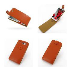 PDair Leather Case for LG Optimus G Pro F240 E980 E988 E989 - Flip Top Type (Orange)