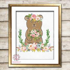 Boho Bohemian Bear Woodland Printable Wall Art Print Garden Floral Nursery Baby Girl Room Decor