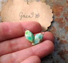 Gaea Ceramic Bead and Art Studio Blog: Little gems. Original and handmade ceramic gem earring charms. gaea.cc