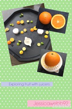 Exploring fruit with juicers. EYFS As we all know juicing and specifically green juices have made themselves a place in the daily diet of many people. It's not only a phenomenon that's restricted to the US but that has been seen wo Eyfs Activities, Nursery Activities, Preschool Activities, Indoor Activities, Summer Activities, Family Activities, Tuff Spot, Olivers Vegetables, Investigation Area