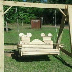 Minnie & Mickey Mouse Wooden Outdoor Swing