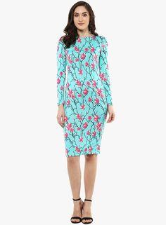 41ff50f7217 Buy SASSAFRAS Aqua Blue Printed Bodycon Dress Online - 2654431 - Jabong