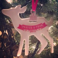 "Everyone who participates in the 12 Days of Christmas Prayer-a-Thon receives a commemorative Daddy's Girl Ministries Christmas ornament!  We are excited to reveal this year's ornament – a white, porcelain deer!  Tying it in with our ""Words of Good Cheer"" theme, the back of the ornament says: You are ""deer"" to us! ;) Because you ARE!! xoxo  #Newbies, you can #join in anytime! Even if you can only participate in one day of the Prayer-a-Thon, we'd love to have you!!"