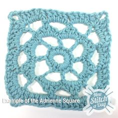 Example of the Adrienne Square Free pattern, Free video how to. Joy! What a great guy teacher, love it: thanks so xox