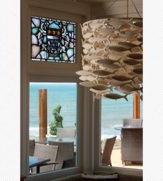 Shoal226 installed in The Pier House, Westward Ho! #shoal #scabetti #bonechina #sculpture #light #fish