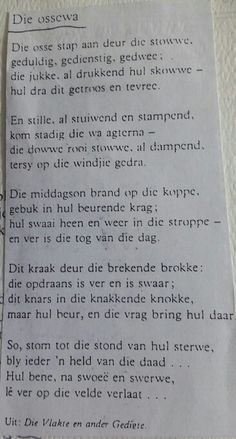 """Die Ossewa"" ~ Uit: die Vlakte en ander gedigte Prayer Verses, Afrikaans, Family History, Teaching Kids, South Africa, Poems, Life Quotes, Writing, Summer"