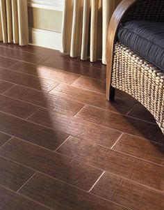Daltile Terrace Wood Look Porcelain Tile Flooring gives any space the warm look of wood in a durable porcelain tile. Choose from colors like: Terrace Bianco, Hickory, Gold, Walnut, Cherry and Espresso.