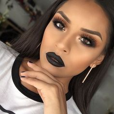 """I'm loving """"Midnight"""" liquid lipstick from @anastasiabeverlyhills This is totally out my comfort zone but...I can get use to this #anastasiabeverlyhills #anastasiabrows"""