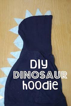 dinosaur hoodie tutorial-even easier-dont cut hoodie!