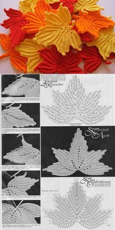 Crochet Leaf Patterns, Crochet Leaves, Crochet Fall, Irish Crochet, Crochet Flowers, Knitting Patterns, Freeform Crochet, Crochet Motif, Crochet Doilies