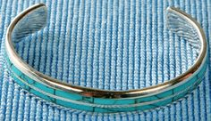 Sterling Silver Bangle With Turquoise Inlay SBANGLE001 Jewelcology