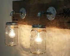 Decor Hacks : Mason Jar 2 light fixture Rustic Reclaimed Barn Wood Mason Jar Hanging Light Fixture Industrial Made in America Primitive Bathroom Vanity -Read More – Pot Mason Diy, Diy Mason Jar Lights, Mason Jar Light Fixture, Mason Jar Sconce, Mason Jar Bathroom, Diy Bathroom Vanity, Rustic Bathroom Vanities, Industrial Light Fixtures, Ball Mason Jars