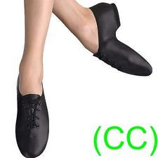 8a2cf878 JAZZ DANCE SHOES Black unisex Leather split suede sole pumps irish hard jig  (CC)