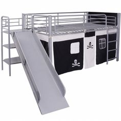 Childrens Loft Bed Steel Slide Ladder Pirate Themed Black Tent Bunk Bedroom Home #ChildrensLoftBed