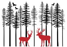 Fir tree forest with reindeer, Christmas card, vector illustration. Free art print of Fir trees with reindeer, vector. Christmas Tree Background, Christmas Tree Set, Reindeer Christmas, Xmas, Vintage Christmas, Forest Illustration, Free Art Prints, Fir Tree, Dollar Tree Crafts