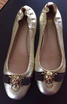 Lilly Pulitzer Shoes Sz 7.5M Gold Ballet Flats Leather Lion #LillyPulitzer #BalletFlats