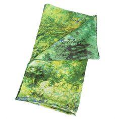 Silk Scarf with motif JAPANESE BRIDGE by Claude Monet silk screened by hand #Rosberg #Scarf