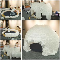 To make this fun REading Igloo out of milk jugs we used 430 milk jugs, a giant card board box, a 80 inch round rug, hot glue guns and hot glue. We used high temperature hot glue guns with high temperature glue sticks. We also supplemented with 6 half milk jugs, to fill in. To prep for our build, we glued the milk jugs together in two's. When gluing milk jugs together make sure you glue the handles together. You will need to hold the milk jugs together for about 60 sec.