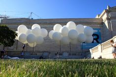 grouping of white balloons makes clouds!! Sky vbs