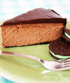 Chocolate cheesecake with mint oreo crust #recipe #cheesecake #chocolate skiptomylou.org