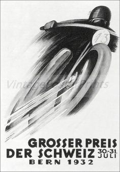 Grosser Preis 1932 Motorcycle Races Switzerland Vintage Poster Print Art Print in Art, Posters Motorcycle Posters, Car Posters, Motorcycle Art, Bike Art, Vintage Cycles, Vintage Racing, Bern, Retro Bike, Unusual Art