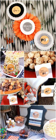 Adorable {She's Ready to POP!} baby shower ideas. Popcorn bar!