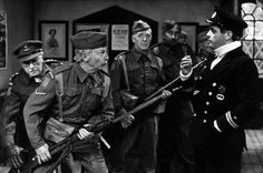 Dad's Army tv programme with Arthur Lowe (left) as Captain Mainwaring and Clive Dunn as Cpl. Jones and Philip Madoc as the U-Boat Commander 1973 episode called The Deadly Attachment Dad's Army, 90s Tv Shows, Comedy Actors, Home Guard, Bbc Tv Series, Classic Comedies, British Comedy, Classic Tv, Feature Film