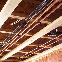 """By hanging 2""""x4"""" furring strips perpendicular to the floor rafters I create additional space to run electric wire and plumbing pipe as well as give me an area to hang ceiling from."""