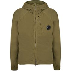 CP COMPANY Hooded Zip Through Jacket (€275) ❤ liked on Polyvore featuring mens, men's clothing, men's outerwear, men's jackets and olive