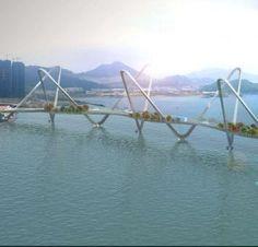 Cross Bay Link Bridge, Tseung Kwan to LOHAS Park, Hong Kong - the bridge contains a road, pedestrian walkways, and bicycle lanes Bridges Architecture, Futuristic Architecture, Rickety Bridge, Bridge Design, Pedestrian Bridge, Covered Bridges, Hong Kong, Urban Design, Scenery