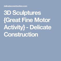 3D Sculptures {Great Fine Motor Activity} - Delicate Construction