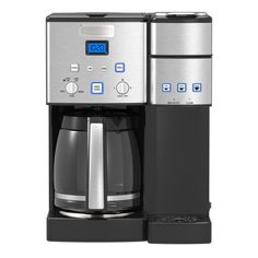 The Cuisinart Coffee Center features a fully automatic coffeemaker on one side and a single-serve breweron the other. Sipping solo or serving a crowd, its easy to enjoy the gourmet taste you expect from a Cuisinart coffeemaker. Stainless Steel Coffee Maker, Brushed Stainless Steel, Coffee Brewer, Coffee Cups, Commercial Coffee Makers, Charcoal Water Filter, Coffee Center, Coffee Service, Drip Coffee Maker