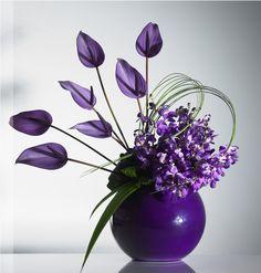 Purple Anthuriums. Modern design #Floral #Arrangement