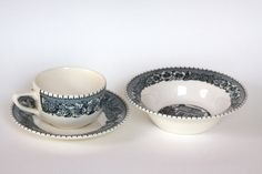 $17 Vintage Blue and White Cup Saucer and Bowl Perfect Set for a Lovely Breakfast by LittleShopofWhatNots on Etsy