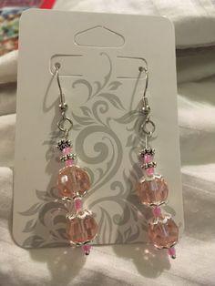 60 mm long and 6mm wide.   Bright pastel pink gem stones. Made with nickel free sterling silver.  #pink #nickelfree #handmadejewelry #earrings