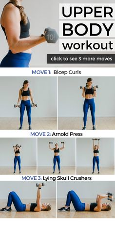 This 20 Minute UPPER BODY WORKOUT FOR WOMEN sculpts and strengthens the arms and upper back from all angles All you need is a set of dumbbells homeworkout dumbbells arms armworkout - Upper Body Strength Workout, Upper Body Workout For Women, Body Workout At Home, Fitness Workout For Women, Body Fitness, At Home Workouts, Physical Fitness, Upper Body Exercises, Arm Workout Women No Equipment