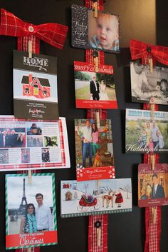 Cutest way to display holiday Christmas cards.. much nicer than taped to the doorway like mine!
