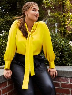 View our Tie Neck Blouse and shop our selection of designer women's plus size Tops, clothing and fashionable accessories. Plus Size Tips, Plus Size Model, Plus Size Skirts, Plus Size Outfits, Plus Size Workwear, Tie Neck Blouse, Plus Size Swimwear, Plus Size Fashion, Petite Fashion