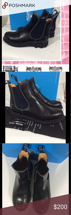 John Fluevog men's casual boots Beautiful boot!! Thick soles, made in Poland, nice leather, BRAND NEW!  Never worn. bought for husband but had foot surgery can't wear. True to size. this brand of shoe is super comfy. I have box and bag. Shoes Boots