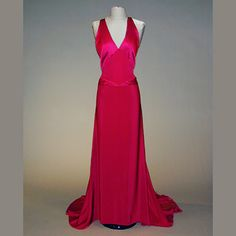 American Beauty Red Halter Dress  Attributed to Charles James  Late 1930s