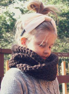 Children's Chunky Cowl Ready to Ship Alpaca Wool Twist Infinity Scarf in Chocolate