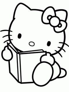 Dibujo infantil de Hello Kitty leyendo para colorear