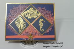By the Tide stamp set. Gold metallic & Midnight Muse card stock. Embossing powder: Gold & Calypso Coral. Ribbon: Calypso Coral. Gold Starfish from my stash.