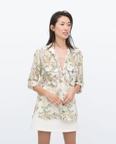ZARA - WOMAN - PRINTED BLOUSE WITH POCKETS