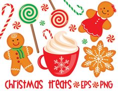 50% OFF Christmas treats, sweets, cocoa, gingerbread, New Year, EPS, Digital Clipart, Digital Stickers, Instant Download, Commercial Use