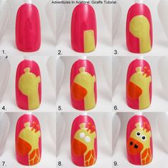 Adventures In Acetone: Tutorial Tuesday: Giraffe Nail Art! I'd use a different base color though. Cute Nail Art, Nail Art Diy, Diy Nails, Cute Nails, Pretty Nails, Leopard Nail Art, Animal Nail Art, Pretty Nail Designs, Nail Art Designs