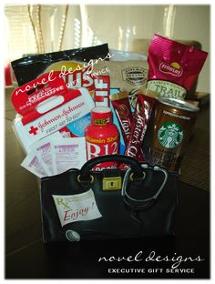 A small Hangover Relief Gift Basket perfect for late night/early mornings on the Las Vegas strip