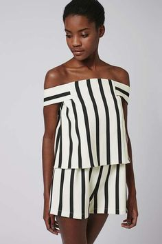 Stripe Bardot Playsuit - Topshop